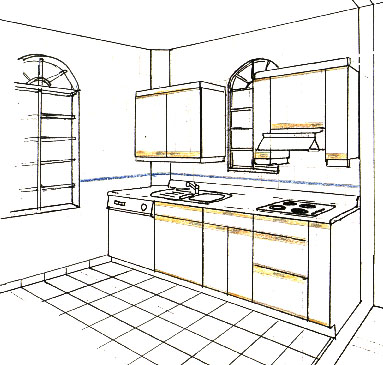Sketches for Interior designs kitchen sketches